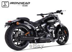 2 Silent Hc1-3b Black Ironhead Harley-davidson Softail Breakout 2013/2016