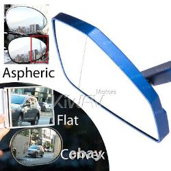 Big Blue Motorcycle Rearview Mirror Cnc Cleaver Look For Harley-davidson Softail Deluxe