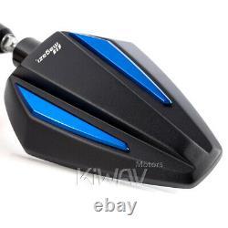 Foldable Blue Black Achilles 3d Mirror For Kawasaki Vn900 2000 Versys Er6n