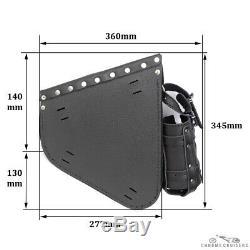 Harley Davidson Black Leather Saddle Bag Left Single Bottle Cross