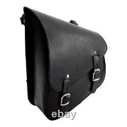 Long Route Swing Black Saddle, Leather, For Harley Davidson Softail
