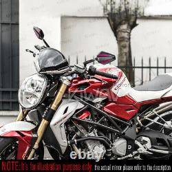Pair Convex Rearview Mirror Black Achilles - Red Cnc Adjustable For Chopper Cruiser