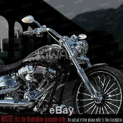Rearview Mirror Chrome Flashing Style Arrow Led For Harley Dyna Softail Sportster