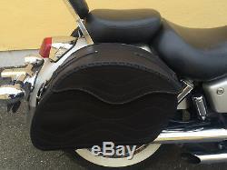 (t) Black Motorcycle Leather Saddlebags Bag Harley Davidson Fatboy