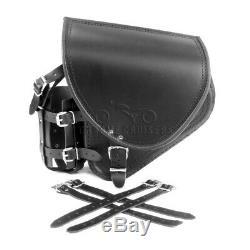Harley Davidson pour Cuir Noir Bras Oscillant Sacoche Sacoche Latérale + Argent