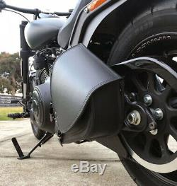 Harley Davidson pour Cuir Noir Bras Oscillant Sacoche Sacoche Latérale + Rouge