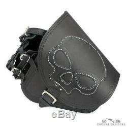 Harley Davidson pour Cuir Noir Gauche Simple Selle Sac avec Bouteille Skull CM