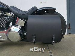 Jupiter Noir + Support Pour Softail Jusqu'À 2017 Sacoches Harley Davidson Fatboy