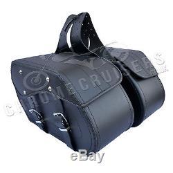 Moto cuir noir Sacoches SACOCHE HARLEY DAVIDSON pour Fatboy c12a